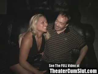 Blonde Birthday Slut's Public Porn Theater Sex Celebration