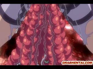 Grūtniece hentai ar bigboobs brutally iedīdītas līdz sarkans tentacles
