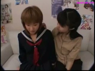 Schoolgirl kissing with her teacher getting her nipples suck