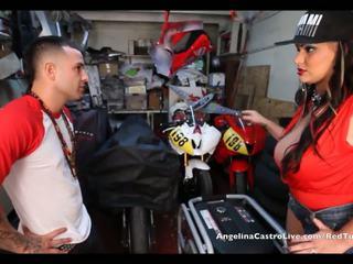 Angelina castro takes cumload uz bike garage!