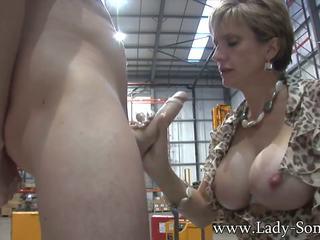MILF Hottie Lady Sonia Stroking and Sucking Cock: Porn 31