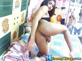 Hot Tranny Strips and Masturbates