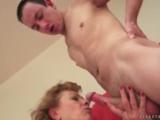 Hot hairy granny loves young man