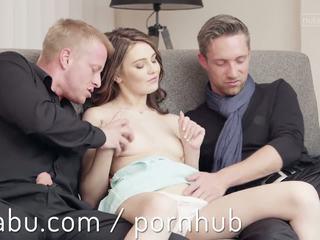 bruneta, orgasmus, 3some