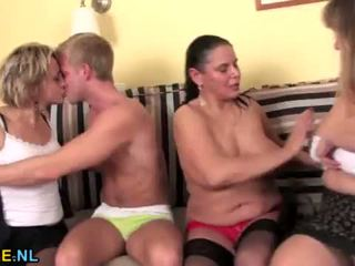 Mature ladies sharing a young guy <span class=duration>- 6 min</span>