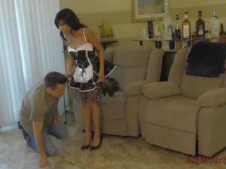 Asian Maid Makes Her Wimp Client Kiss Her Ass - Femdom