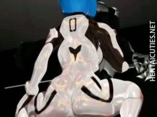 Horny 3D anime slut sucking tentacles