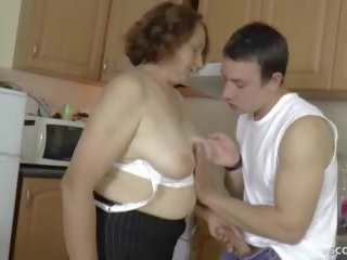 German Step-son Seduce Hairy Granny to get Firs Fuck...