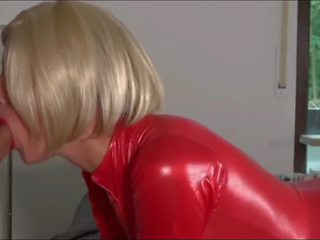 Blonde Slut Ass Fucked in Red Latex Cat Suit: Free Porn 6b