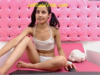 Cute slim girl get naked in free