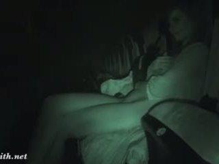 brunett, naken, film, dolda cam