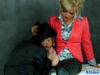 Bukkake femdom toying euro lesbian