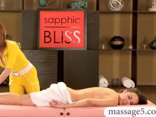 Dillion Harper lesbo sex with bushy masseuse April Oneil
