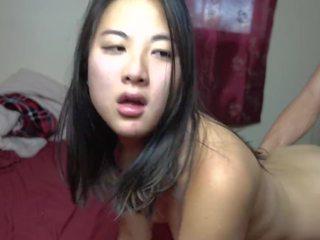 18 yr vecs aziāti meitene fucked suņveidīgi & takes sperma uz viņai vāvere