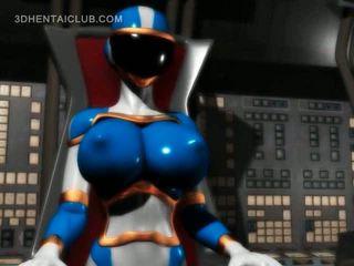 Big boobed anime hero super hot in tight costume
