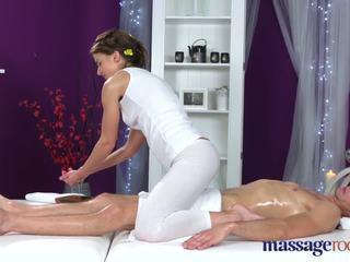 Massage Rooms Athletic brunette sucks big dic