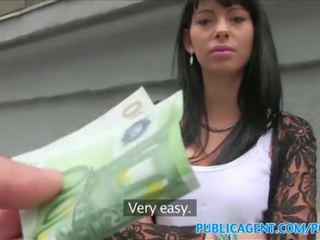 PublicAgent Black haired babe fucks stranger for cash on public stairwell