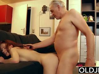 Young Slut Hard Fucked by Old Horny Man He Fucks Her.
