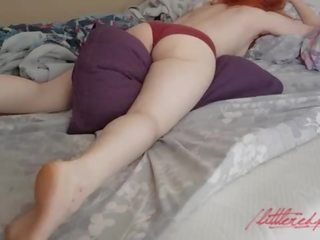 REDHEAD WAKES UP AND SLEEPILY RUBS AGAINST A PILLOW TO AN AMAZING ORGASM!!