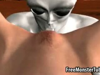 Busty 3D Babe Gets Licked And Fucked By An Alien