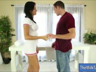 Sexy Big Tits Massage Therapist Nadia Capri Milking A Cock