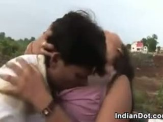 Cute Indian With Big Tits Kissing Outdoors