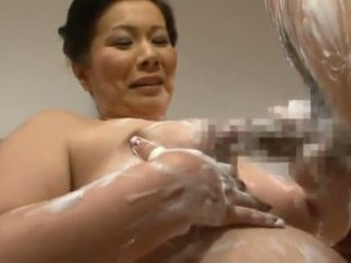 Mature Thai Chizuru Iwasaki Giving A Soapy Tugjob And Mouthjob