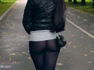 Jeny smith υψηλός τακούνια μαύρος/η καλτσόν δημόσιο βόλτα