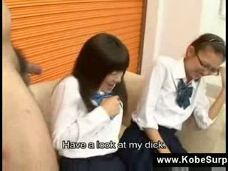 Japanese schoolgirls touch a dick