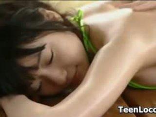 Sweet Asian Teen Being Massaged Outside