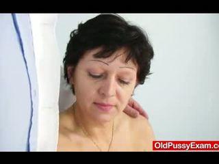 Unshaven housewife Eva visits gyno doc fuck hole i