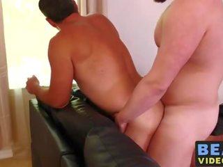 Fat gay man riding raw bear cock roughly