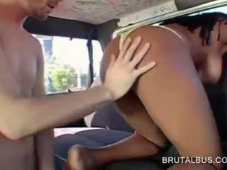Ebony hoe sucking giant dick in the sex bus