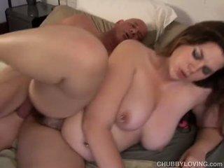 Cute chubby brunette enjoys fucking a lucky guy