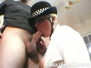Horny English MILF policewoman fucked in sexy lingerie