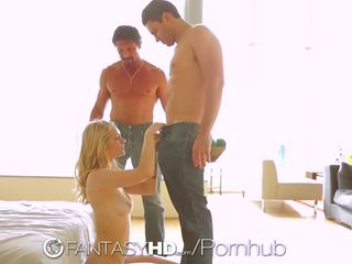 Alli Rae is fucked in threesome with double cumshot by two guys