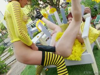 Slutty bee gets pounded by large itim dildos at cocks