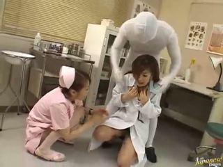 Dlouho haired asijské dospívající blows čurák