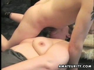 Mature and busty amateur wife with young guy