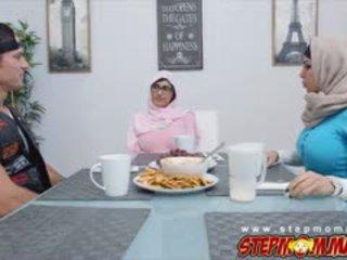 Julianna Vega And Mia Khalifa Dealing With A Huge Cock