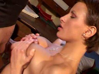 brunette, orale seks gepost, vaginale sex film