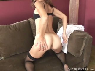 Slim Old Spunker in Sexy Stockings is Feeling Horny.