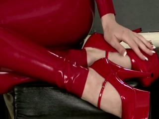 Lily in Red Latex Catsuit, Free Cougar HD Porn e7
