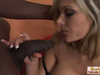 Blonde housewife in stockings fucks her black step-son