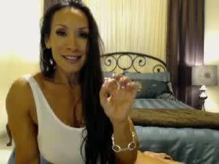 groot brunette video-, speelgoed, kijken webcam klem