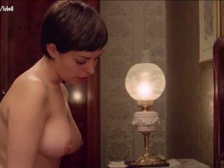 stora bröst, redhead, tappning, dusch