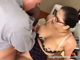 Busty office babe Reina Leone getting screwed on her twat and loves it