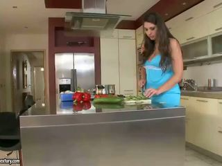 Aletta Ocea and Zafira have sex in the kitchen
