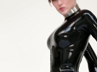 Hot girl in catsuit and killer heels