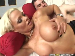 Amazing busty blonde slut gets her pussy pounded by a huge cock